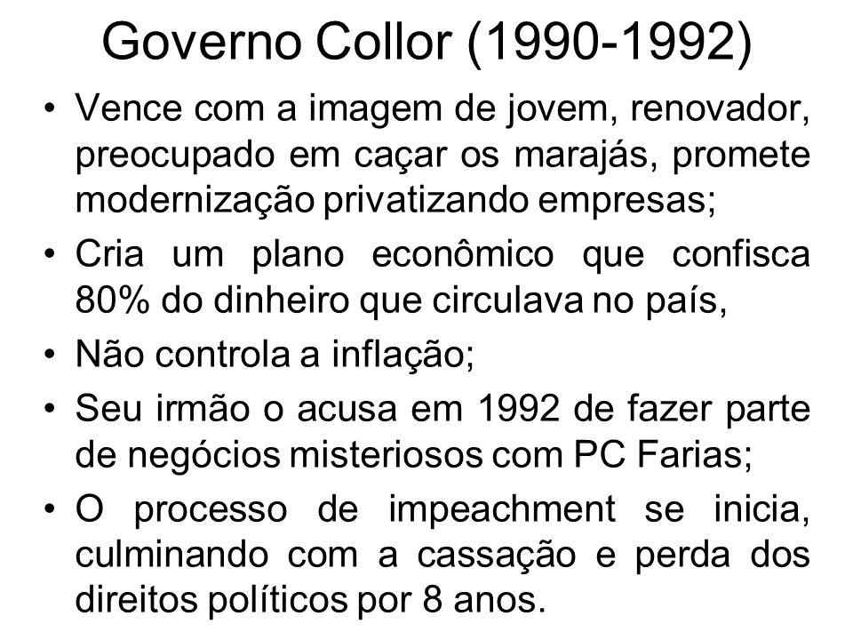 Governo Collor (1990-1992) Vence com a imagem de jovem, renovador, preocupado em caçar os marajás, promete modernização privatizando empresas; Cria um
