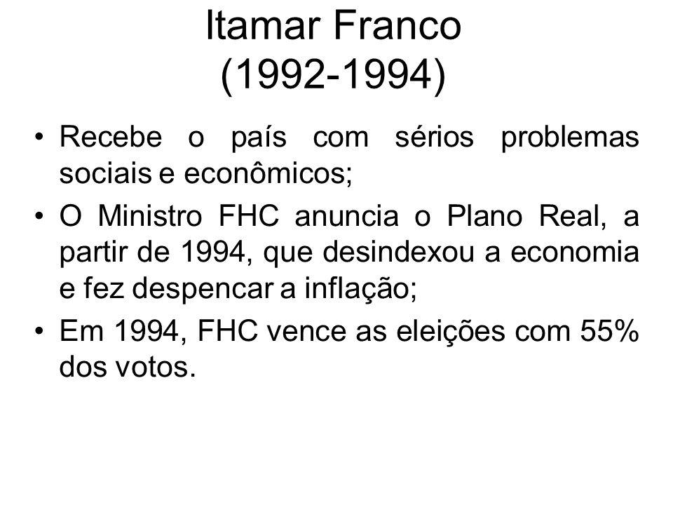 Itamar Franco (1992-1994) Recebe o país com sérios problemas sociais e econômicos; O Ministro FHC anuncia o Plano Real, a partir de 1994, que desindex