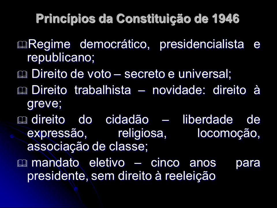 Princípios da Constituição de 1946 Regime democrático, presidencialista e republicano; Regime democrático, presidencialista e republicano; Direito de