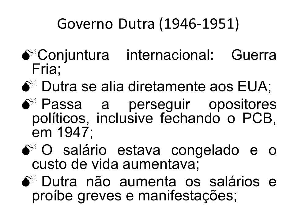 Governo Dutra (1946-1951) Conjuntura internacional: Guerra Fria; Dutra se alia diretamente aos EUA; Passa a perseguir opositores políticos, inclusive
