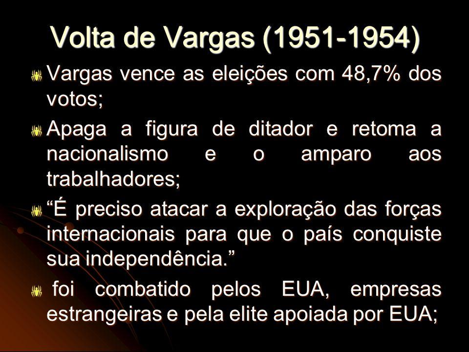 Volta de Vargas (1951-1954) Vargas vence as eleições com 48,7% dos votos; Vargas vence as eleições com 48,7% dos votos; Apaga a figura de ditador e re
