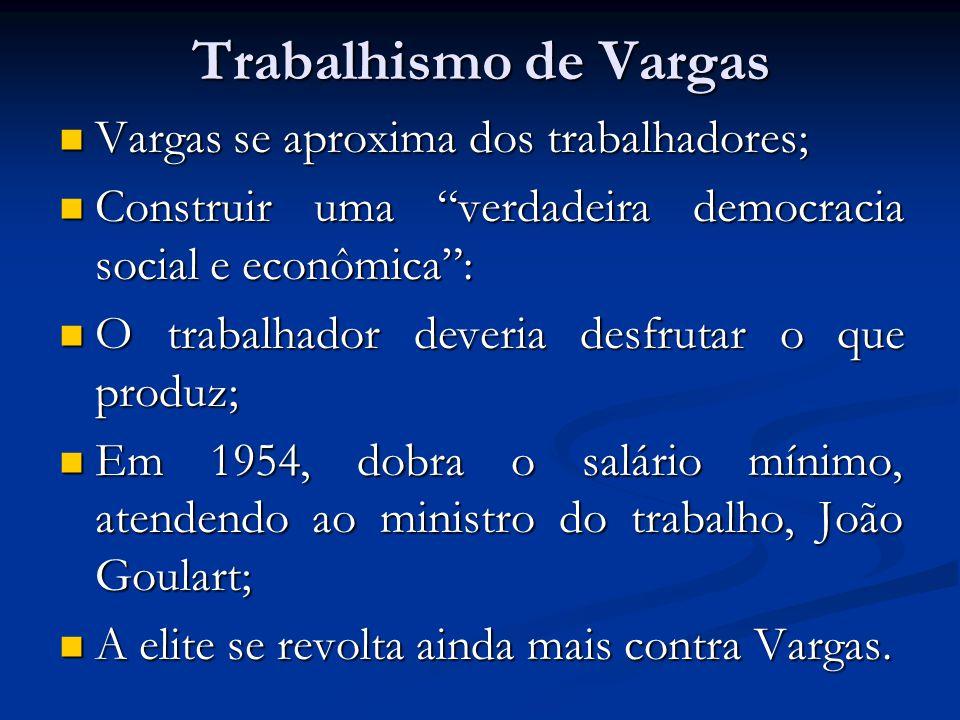 Trabalhismo de Vargas Vargas se aproxima dos trabalhadores; Vargas se aproxima dos trabalhadores; Construir uma verdadeira democracia social e econômi