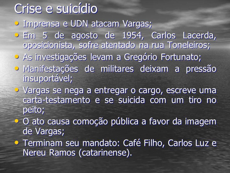 Crise e suicídio Imprensa e UDN atacam Vargas; Imprensa e UDN atacam Vargas; Em 5 de agosto de 1954, Carlos Lacerda, oposicionista, sofre atentado na