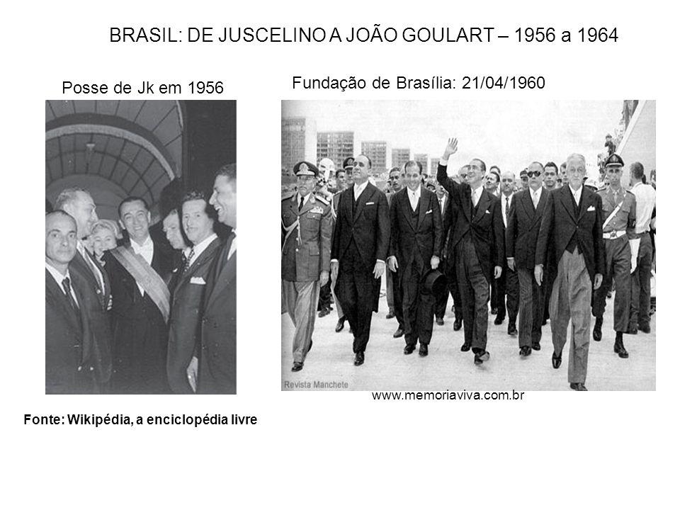 Fonte: Wikipédia, a enciclopédia livre BRASIL: DE JUSCELINO A JOÃO GOULART – 1956 a 1964 Posse de Jk em 1956 Fundação de Brasília: 21/04/1960 www.memo