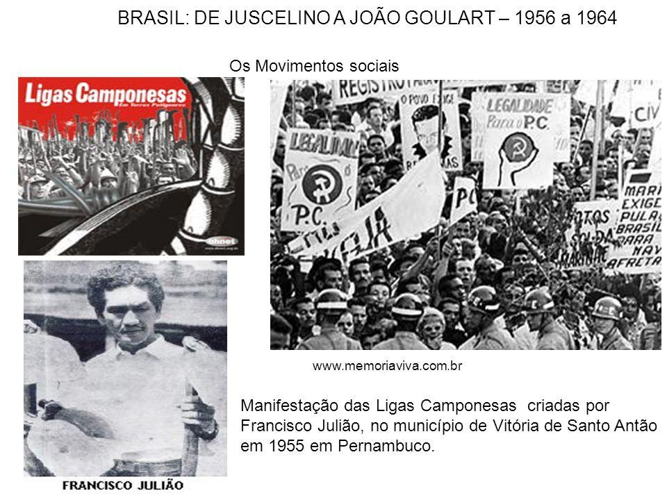 Os Movimentos sociais Manifestação das Ligas Camponesas criadas por Francisco Julião, no município de Vitória de Santo Antão em 1955 em Pernambuco. ww