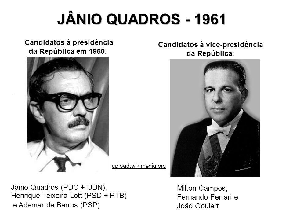 Candidatos à presidência da República em 1960: JÂNIO QUADROS - 1961 Milton Campos, Fernando Ferrari e João Goulart Jânio Quadros (PDC + UDN), Henrique