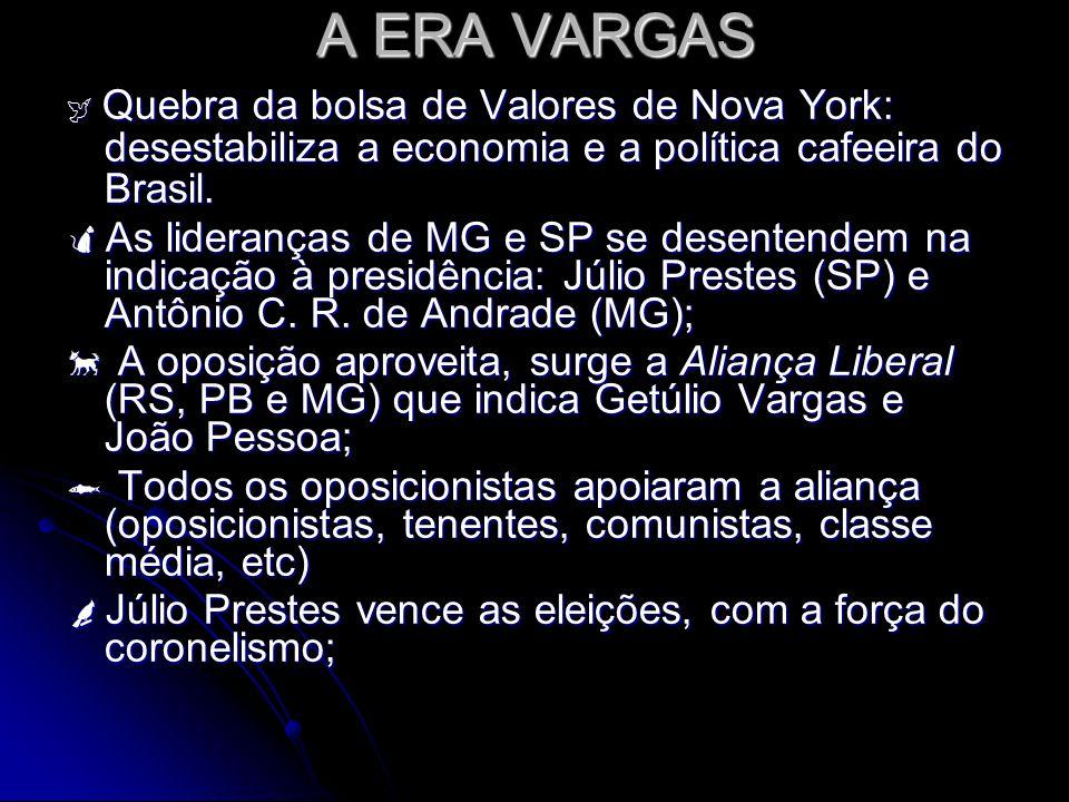 A ERA VARGAS Quebra da bolsa de Valores de Nova York: desestabiliza a economia e a política cafeeira do Brasil. Quebra da bolsa de Valores de Nova Yor