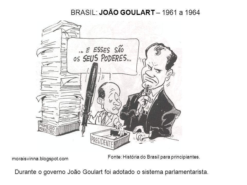 moraisvinna.blogspot.com O governo de João Goulart BRASIL: JOÃO GOULART – 1961 a 1964 Fonte: História do Brasil para principiantes. Durante o governo
