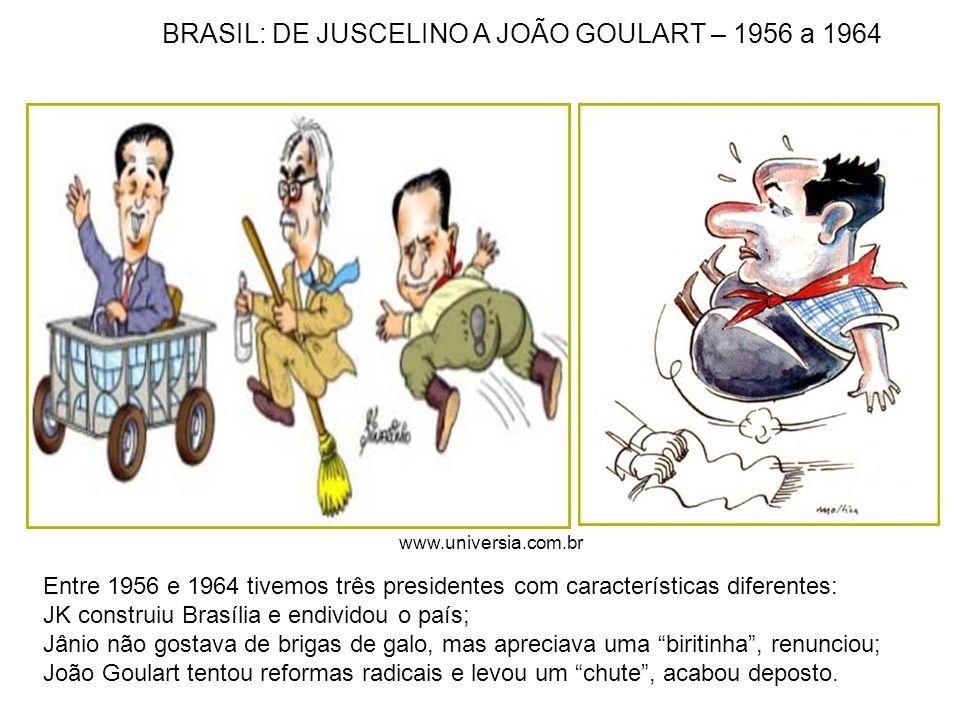 Entre 1956 e 1964 tivemos três presidentes com características diferentes: JK construiu Brasília e endividou o país; Jânio não gostava de brigas de ga