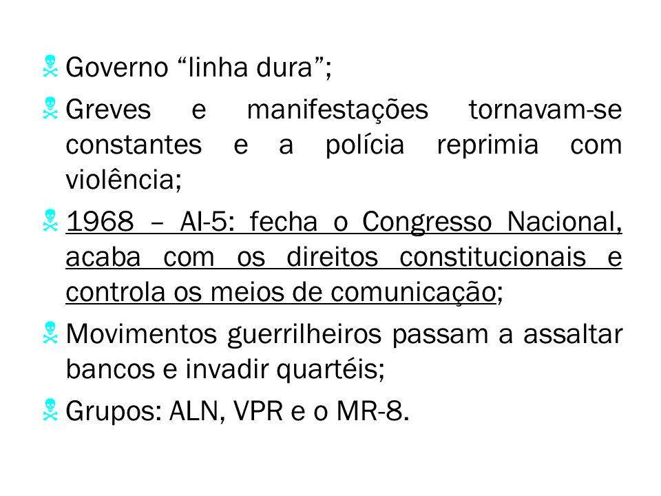 Governo linha dura ; Greves e manifestações tornavam-se constantes e a polícia reprimia com violência; 1968 – AI-5: fecha o Congresso Nacional, acaba