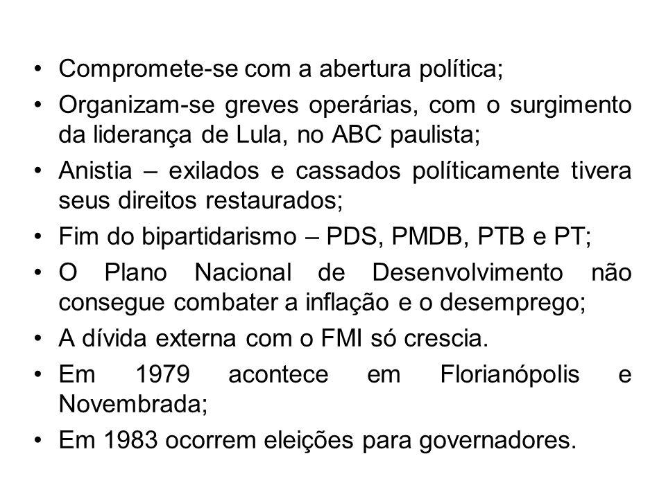 Compromete-se com a abertura política; Organizam-se greves operárias, com o surgimento da liderança de Lula, no ABC paulista; Anistia – exilados e cas