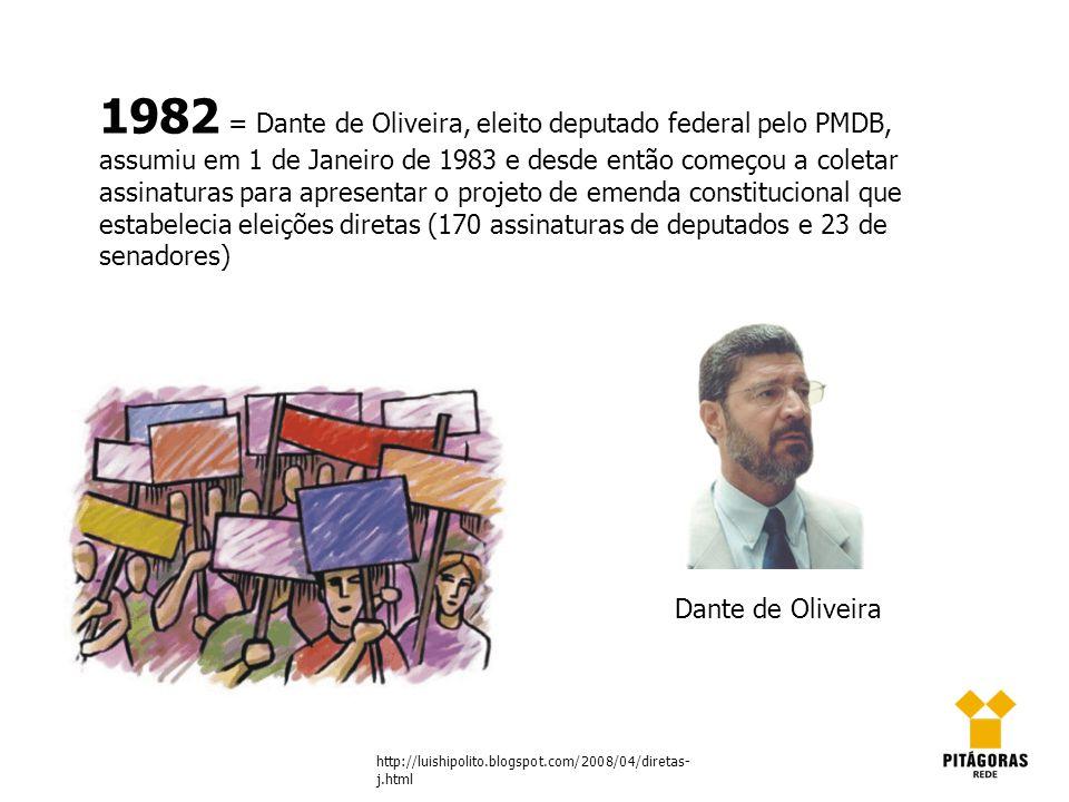 1982 = Dante de Oliveira, eleito deputado federal pelo PMDB, assumiu em 1 de Janeiro de 1983 e desde então começou a coletar assinaturas para apresent