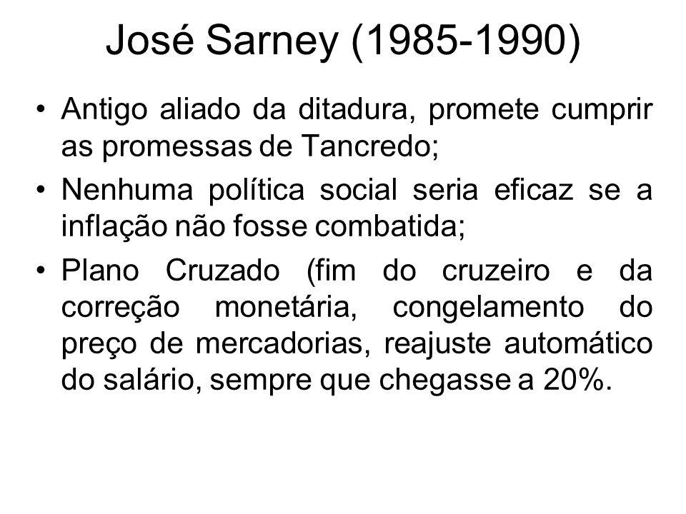 José Sarney (1985-1990) Antigo aliado da ditadura, promete cumprir as promessas de Tancredo; Nenhuma política social seria eficaz se a inflação não fo