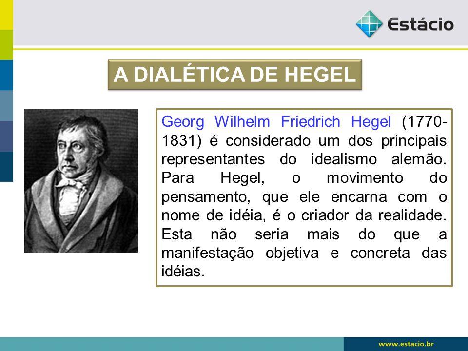 Georg Wilhelm Friedrich Hegel (1770- 1831) é considerado um dos principais representantes do idealismo alemão. Para Hegel, o movimento do pensamento,