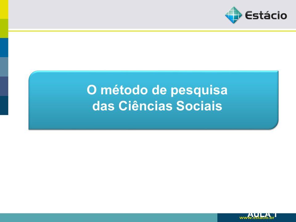 O método de pesquisa das Ciências Sociais AULA 1