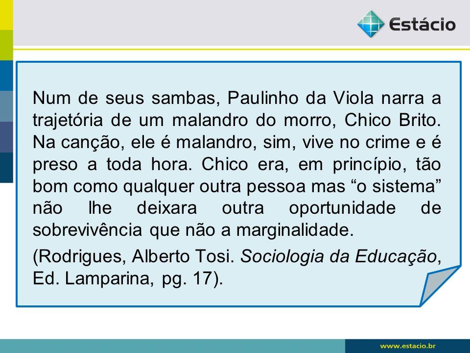 Num de seus sambas, Paulinho da Viola narra a trajetória de um malandro do morro, Chico Brito. Na canção, ele é malandro, sim, vive no crime e é preso