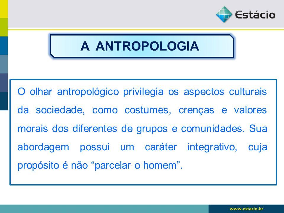 O olhar antropológico privilegia os aspectos culturais da sociedade, como costumes, crenças e valores morais dos diferentes de grupos e comunidades. S