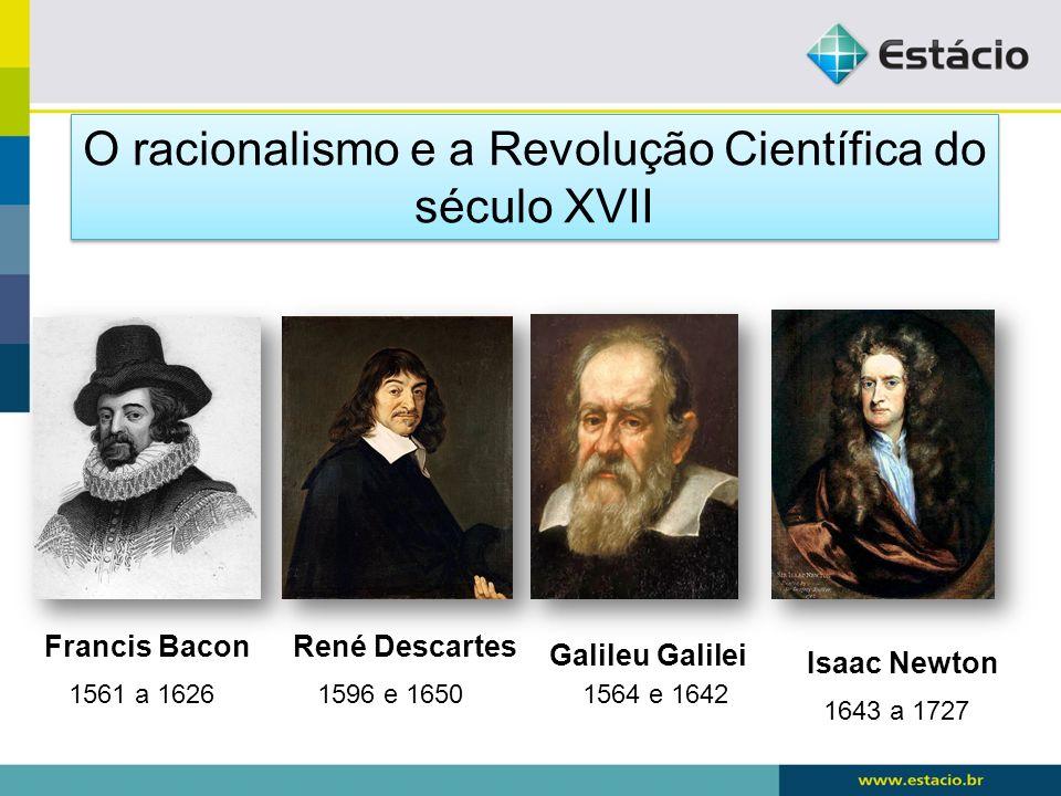 Galileu Galilei Francis BaconRené Descartes Isaac Newton 1643 a 1727 1564 e 16421596 e 16501561 a 1626 O racionalismo e a Revolução Científica do sécu