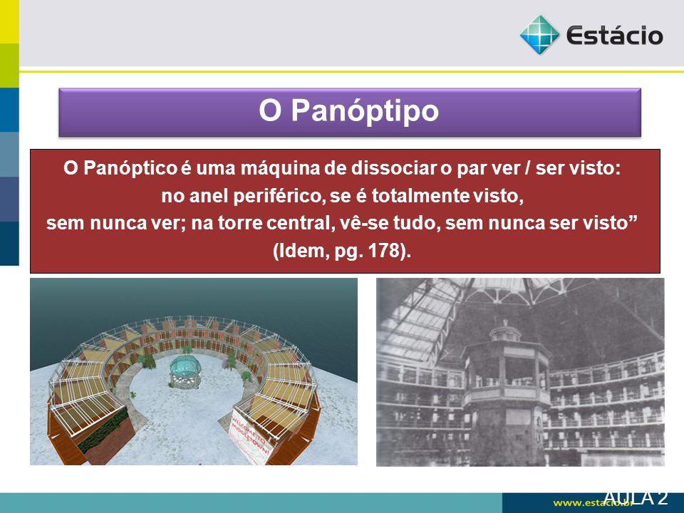 AULA 2 O Panóptipo O Panóptico é uma máquina de dissociar o par ver / ser visto: no anel periférico, se é totalmente visto, sem nunca ver; na torre ce