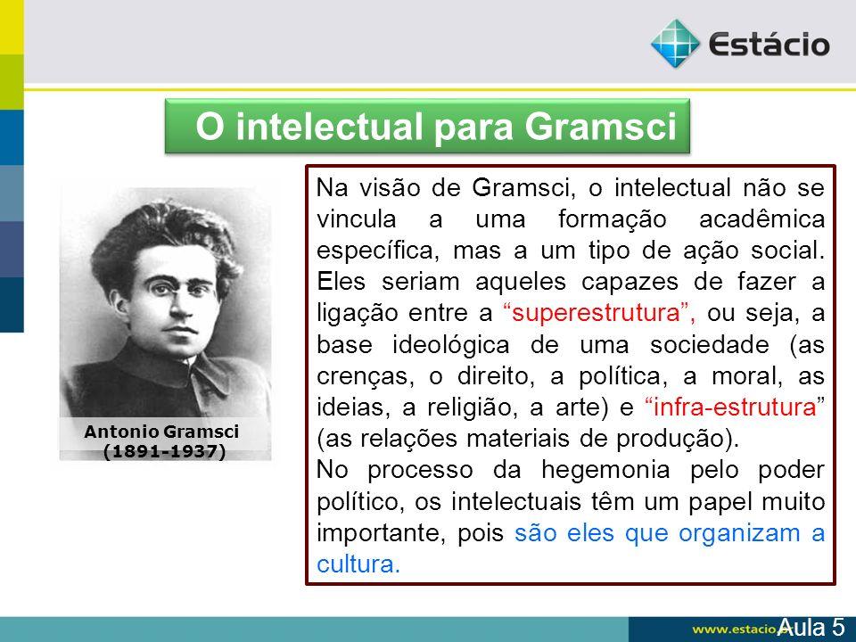 Na visão de Gramsci, o intelectual não se vincula a uma formação acadêmica específica, mas a um tipo de ação social. Eles seriam aqueles capazes de fa