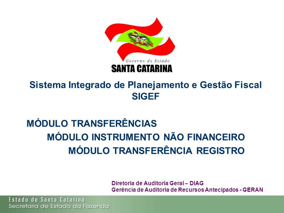 Sistema Integrado de Planejamento e Gestão Fiscal SIGEF MÓDULO TRANSFERÊNCIAS MÓDULO INSTRUMENTO NÃO FINANCEIRO MÓDULO TRANSFERÊNCIA REGISTRO Diretori