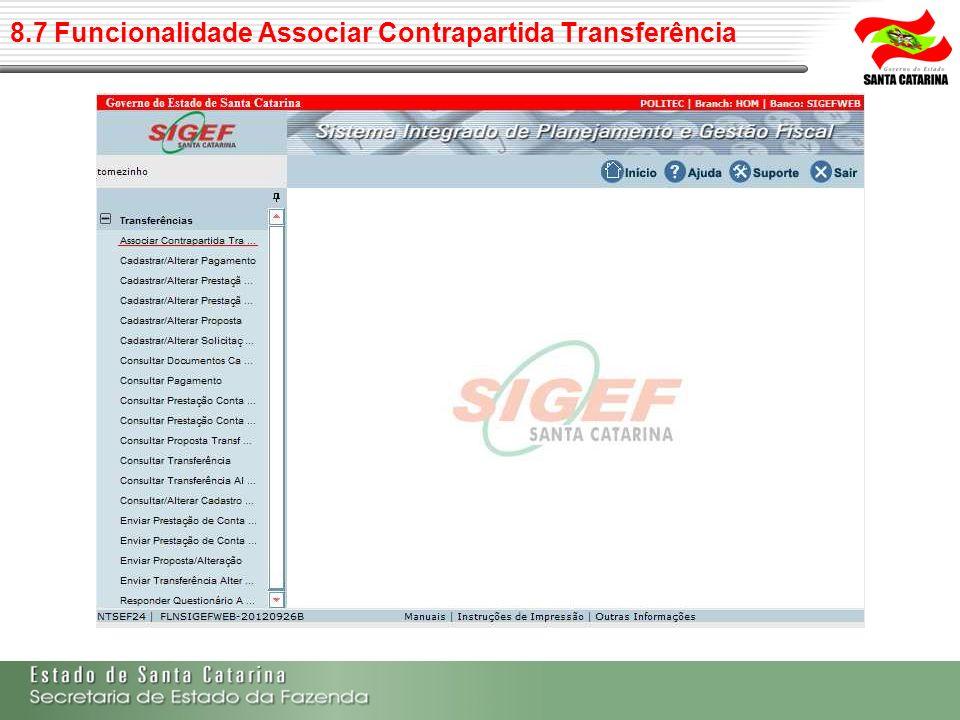 8.7 Funcionalidade Associar Contrapartida Transferência