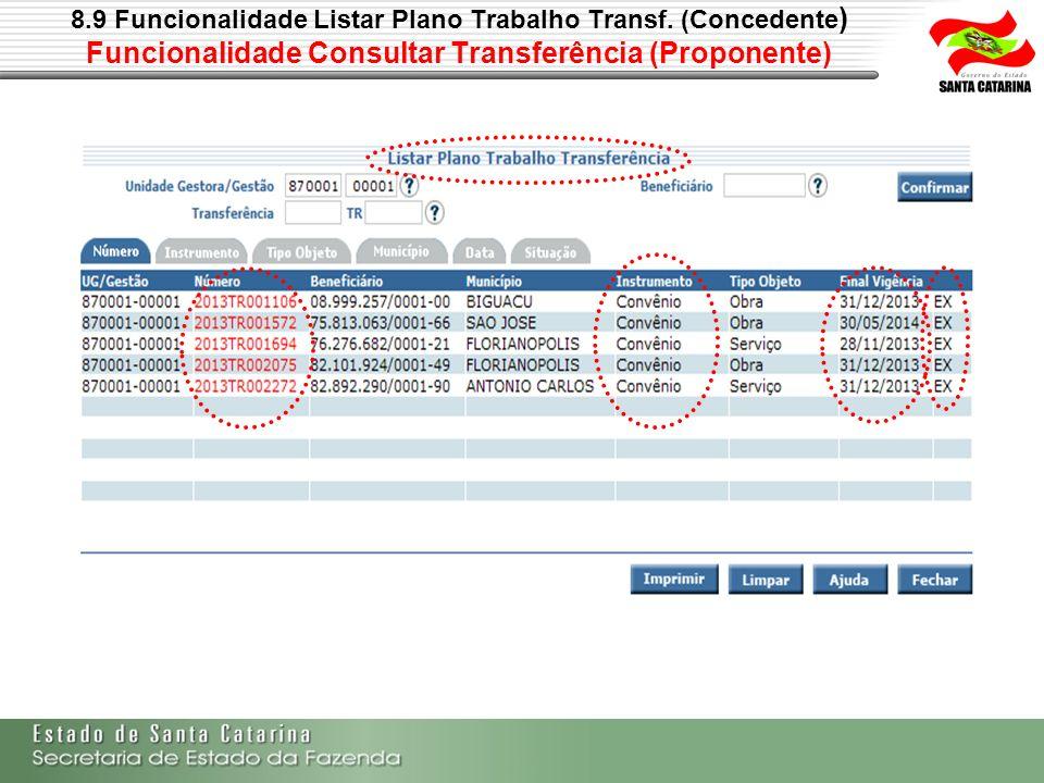 8.9 Funcionalidade Listar Plano Trabalho Transf. (Concedente ) Funcionalidade Consultar Transferência (Proponente)