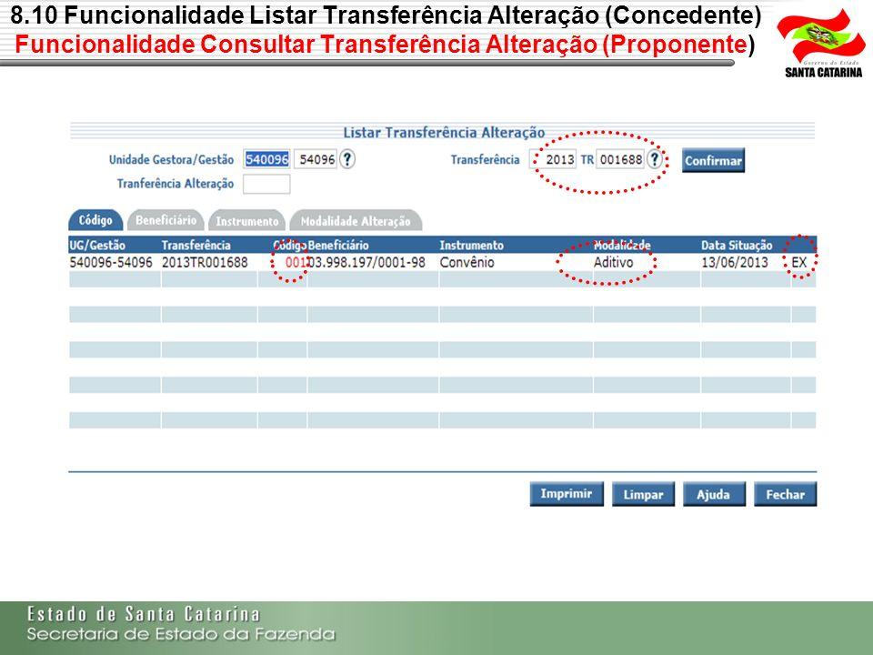 8.10 Funcionalidade Listar Transferência Alteração (Concedente) Funcionalidade Consultar Transferência Alteração (Proponente)