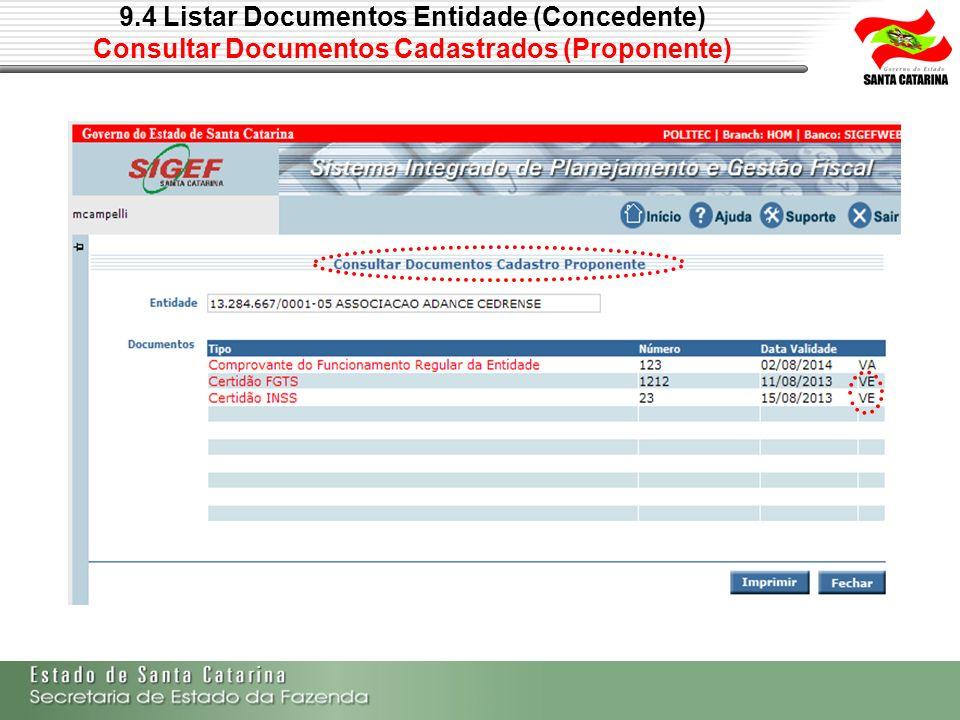 9.4 Listar Documentos Entidade (Concedente) Consultar Documentos Cadastrados (Proponente)