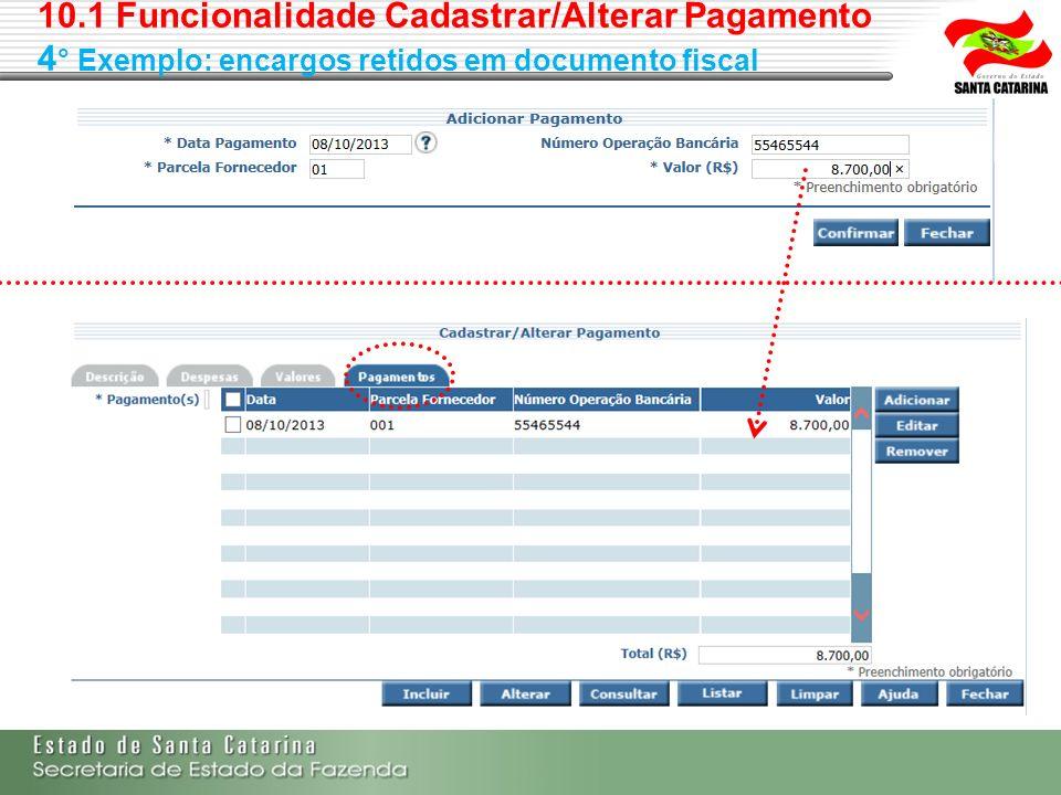 10.1 Funcionalidade Cadastrar/Alterar Pagamento 4 ° Exemplo: encargos retidos em documento fiscal