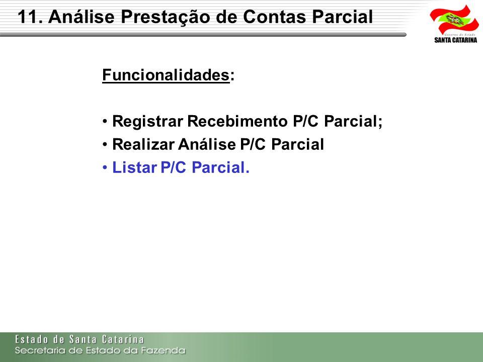 Funcionalidades: Registrar Recebimento P/C Parcial; Realizar Análise P/C Parcial Listar P/C Parcial.