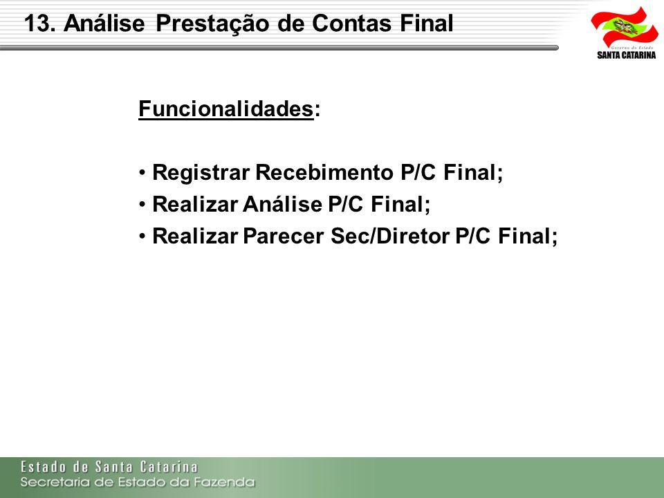 Funcionalidades: Registrar Recebimento P/C Final; Realizar Análise P/C Final; Realizar Parecer Sec/Diretor P/C Final;