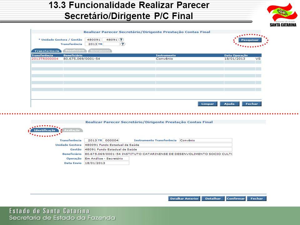13.3 Funcionalidade Realizar Parecer Secretário/Dirigente P/C Final