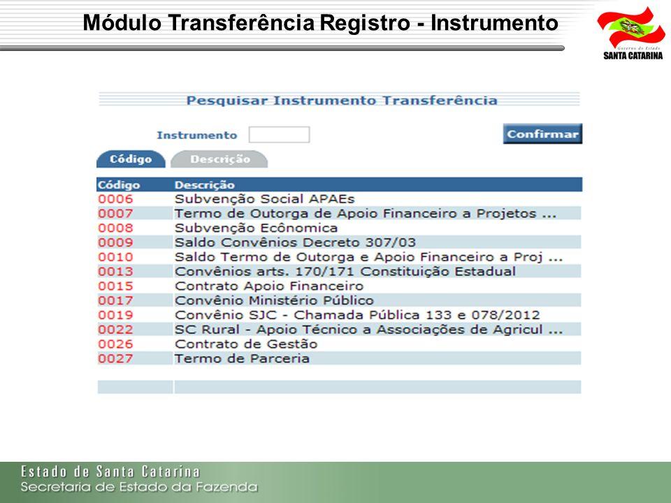 Módulo Transferência Registro - Instrumento