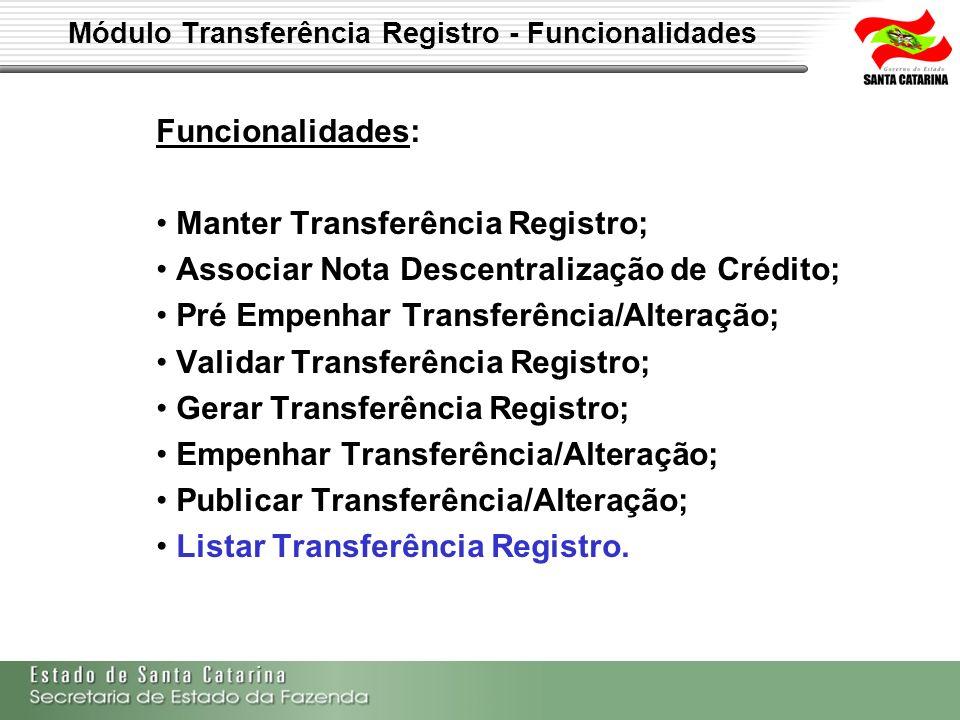 Módulo Transferência Registro - Funcionalidades Funcionalidades: Manter Transferência Registro; Associar Nota Descentralização de Crédito; Pré Empenha
