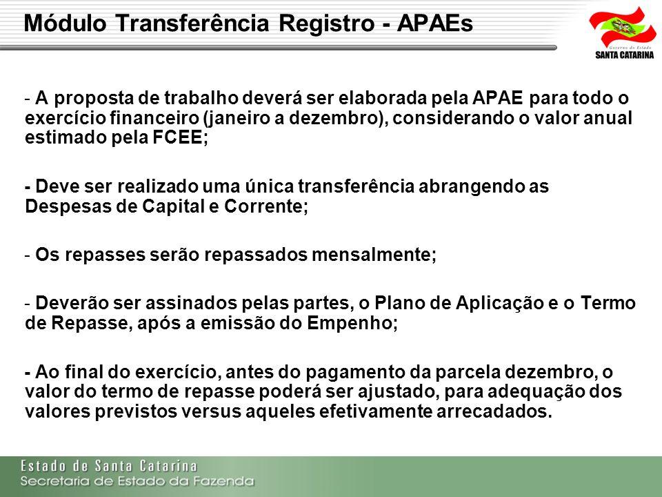 Módulo Transferência Registro - APAEs - A proposta de trabalho deverá ser elaborada pela APAE para todo o exercício financeiro (janeiro a dezembro), c