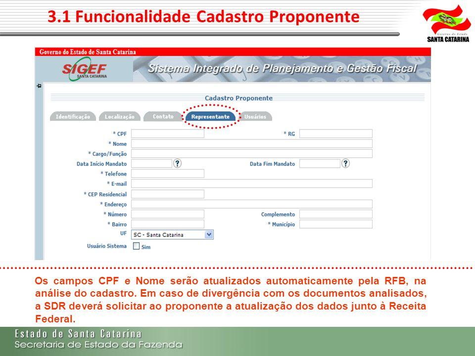 3.1 Funcionalidade Cadastro Proponente Os campos CPF e Nome serão atualizados automaticamente pela RFB, na análise do cadastro. Em caso de divergência