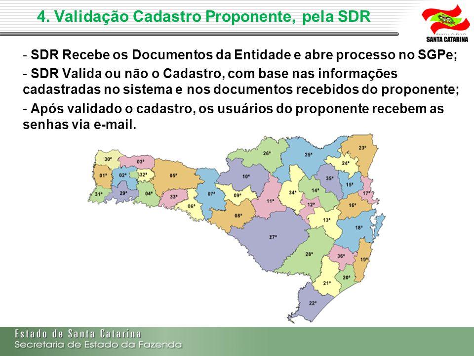 4. Validação Cadastro Proponente, pela SDR - SDR Recebe os Documentos da Entidade e abre processo no SGPe; - SDR Valida ou não o Cadastro, com base na