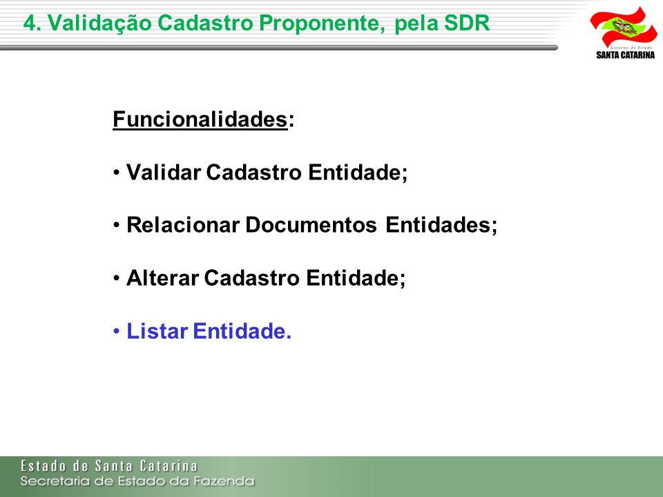 4. Validação Cadastro Proponente, pela SDR Funcionalidades: Validar Cadastro Entidade; Relacionar Documentos Entidades; Alterar Cadastro Entidade; Lis