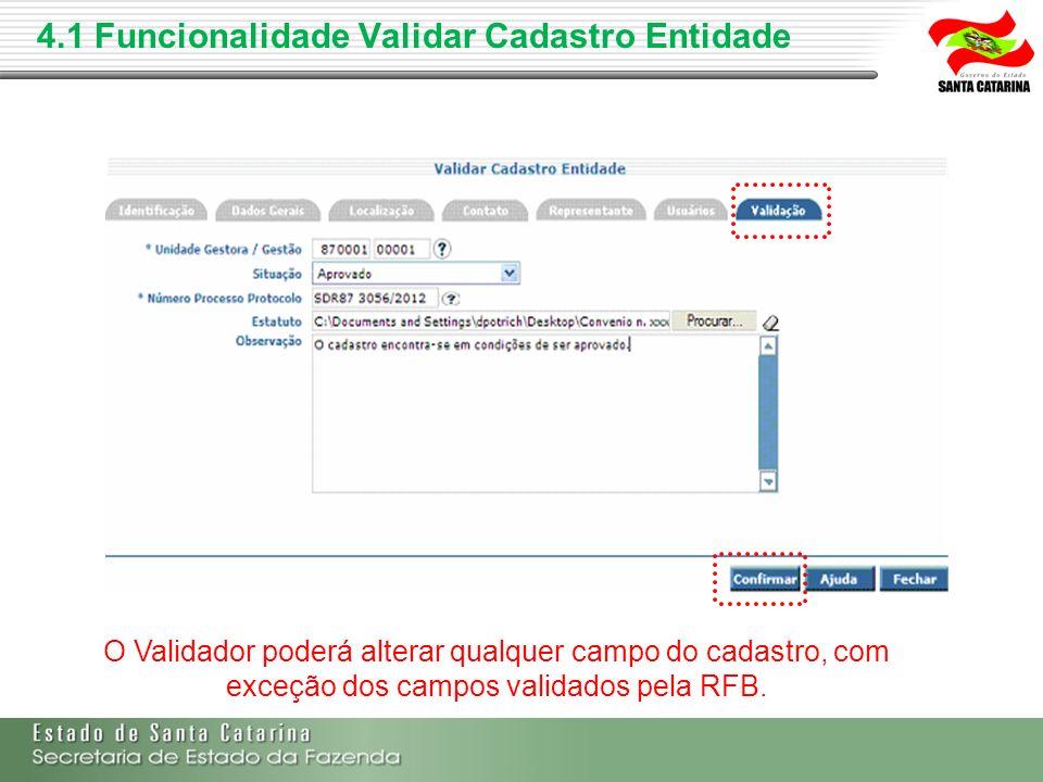 O Validador poderá alterar qualquer campo do cadastro, com exceção dos campos validados pela RFB.
