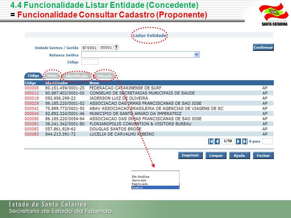 4.4 Funcionalidade Listar Entidade (Concedente) = Funcionalidade Consultar Cadastro (Proponente)