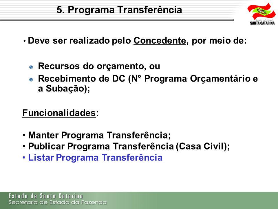 5. Programa Transferência Deve ser realizado pelo Concedente, por meio de: Recursos do orçamento, ou Recebimento de DC (N° Programa Orçamentário e a S