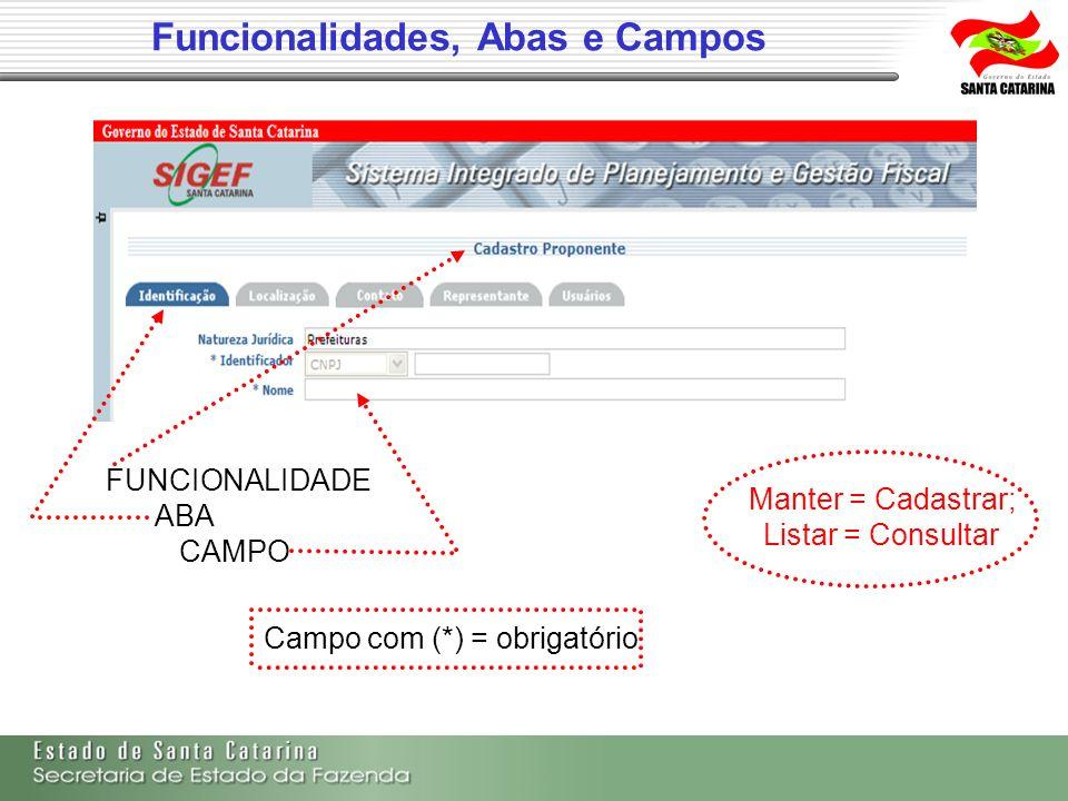 Funcionalidades, Abas e Campos FUNCIONALIDADE ABA CAMPO Campo com (*) = obrigatório Manter = Cadastrar; Listar = Consultar