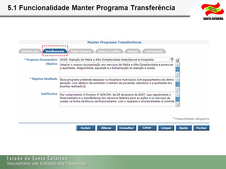 5.1 Funcionalidade Manter Programa Transferência
