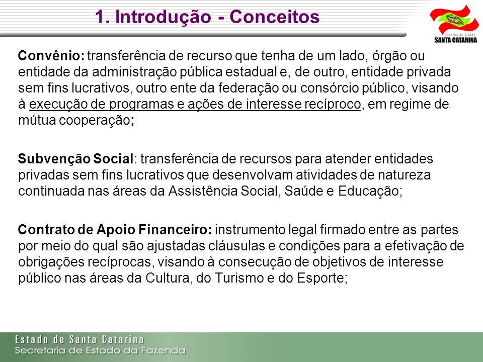 1. Introdução - Conceitos Convênio: transferência de recurso que tenha de um lado, órgão ou entidade da administração pública estadual e, de outro, en