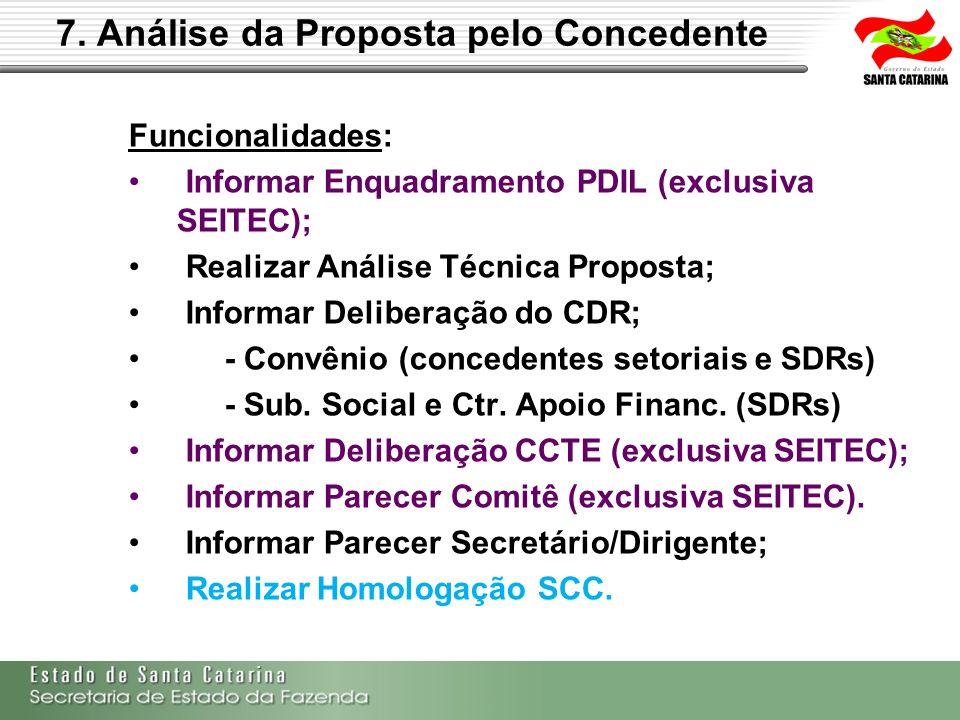 7. Análise da Proposta pelo Concedente Funcionalidades: Informar Enquadramento PDIL (exclusiva SEITEC); Realizar Análise Técnica Proposta; Informar De