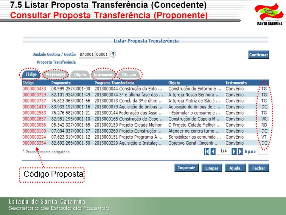 7.5 Listar Proposta Transferência (Concedente) Consultar Proposta Transferência (Proponente) Código Proposta