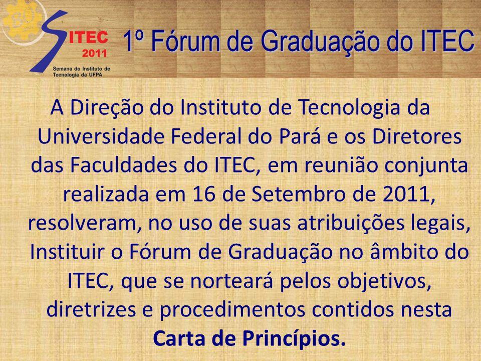 1º Fórum de Graduação do ITEC Esta Carta de Princípios será apresentada a seguir, já tendo sido aprovada na sua versão preliminar na reunião da câmara de ensino na última sexta feira dia 16/09/2011, para que a comunidade do ITEC possa contribuir com sugestões até sua forma final, para que possa ser formalizada na congregação do ITEC, pelo e-mail sitec@ufpa.br, até 26/09/2011.sitec@ufpa.br