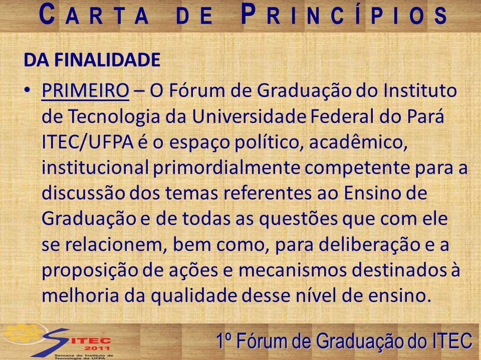 DA COMPOSIÇÃO SEGUNDO SEGUNDO – São membros permanentes do Fórum de Graduação os Diretores de Faculdades ou seus representantes legais, a Comissão de Ensino e um representante discente membro de cada colegiado respectivo.
