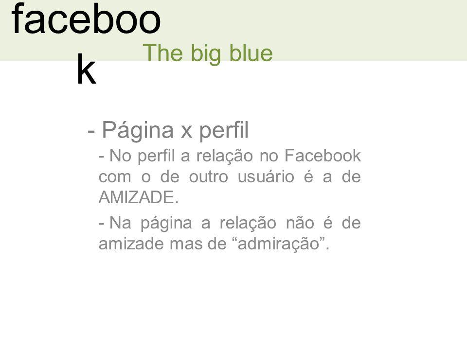 faceboo k - Página x perfil The big blue - No perfil a relação no Facebook com o de outro usuário é a de AMIZADE.